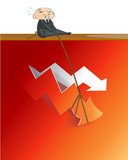 Businessman lifting up red arrow from critical poster