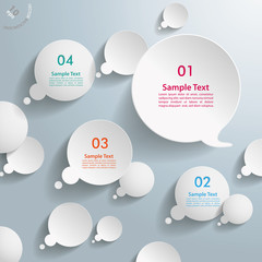 White Thought And Speech Bubbles With Numbers