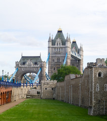 Tower of London moat with Tower Bridge