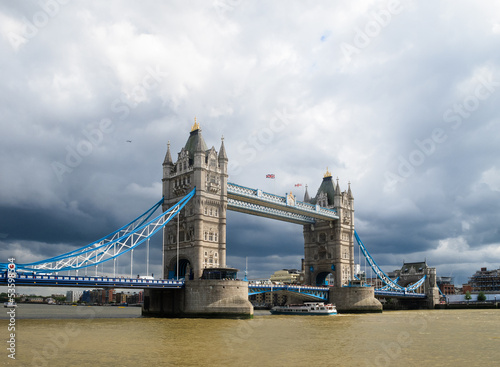 Tower Bridge, London, under cloudy sky