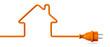 Leinwanddruck Bild - Orange power plug - house