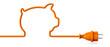 Leinwanddruck Bild - Orange power plug - piggy bank