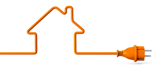 Orange power plug - house