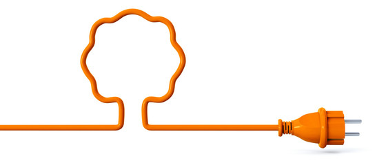 Orange power plug - tree