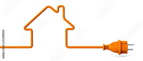 Leinwanddruck Bild Orange power plug - house