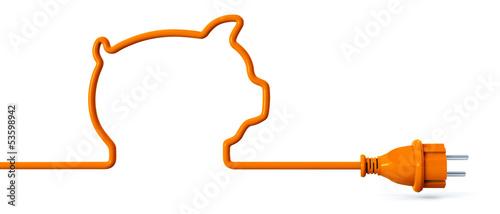 Leinwanddruck Bild Orange power plug - piggy bank
