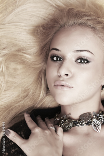 Beautiful blond woman. close-up portrait