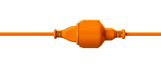 Orange connection cable - plugged-in