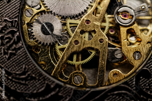 Watch gears very close up - 53599391