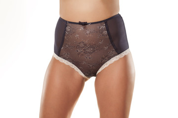 Front View of the feminine hips and panties with high waist