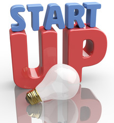 Start up idea light bulb word scene