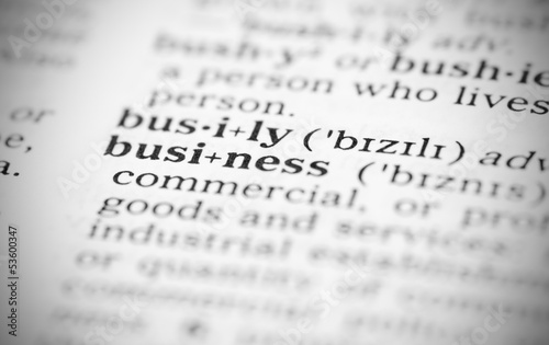 Macro image of dictionary definition of business