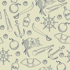 Pirates elements seamless pattern