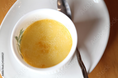 Creme brulee. Traditional French vanilla cream dessert with frui