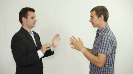 Two funny businessmen clapping hands