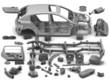 Детали автомобиля на белом фоне