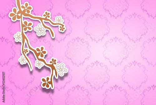 Zweig mit rosa Hintergrund