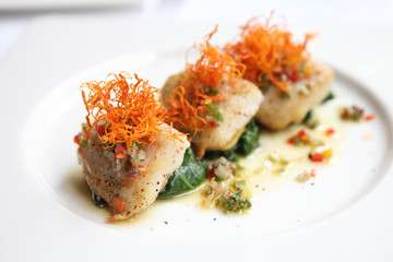 pan fried sea bass fish fillet