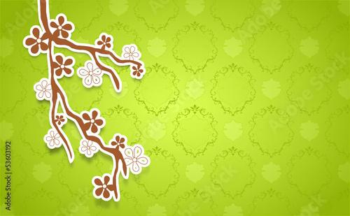 Zweig mit grünem Hintergrund