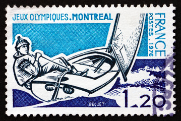 Postage stamp France 1976 shows Sailing, 21st Olympic Games