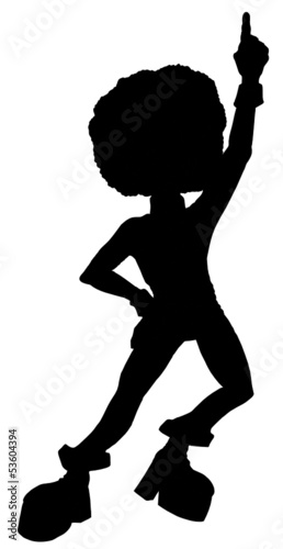 Silhouette vector illustration of a 1970's disco dancer