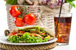 Kebab made of vegetables and meat served with cold cola