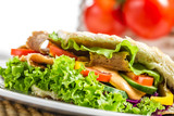 Closeup of tasty kebab with vegetables