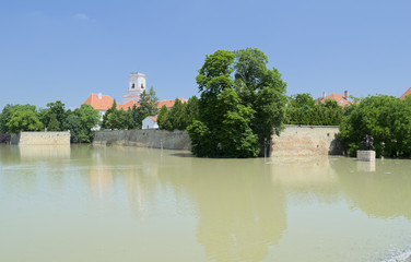 Flooding Raba River at Bishop Castle Walls in Gyor, Hungary