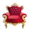 luxury red and golden armchair isolated with clipping path