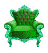 luxury green armchair isolated with clipping path