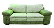 green leather sofa isolated with clipping path