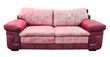 red leather sofa isolated with clipping path