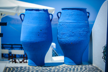 Traditional two large blue bins in the Greek village