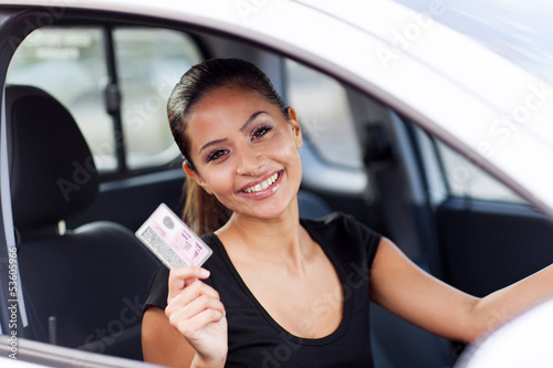 young woman just got her driving licence