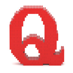 Letter Q built from toy bricks