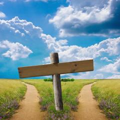 letrero y caminos