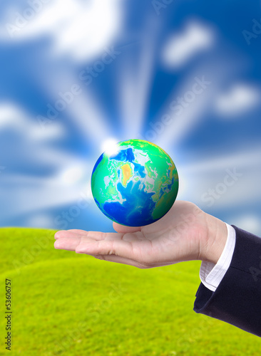 earth globe on hand