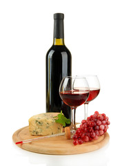 Wine, tasty blue cheese and grape, isolated on white