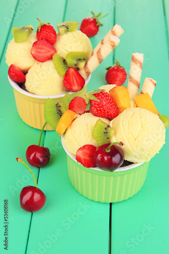 Poster Delicious  ice cream with fruits and berries in bowl