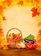 Autumn background with fresh vegetables in basket. Healthy Food.
