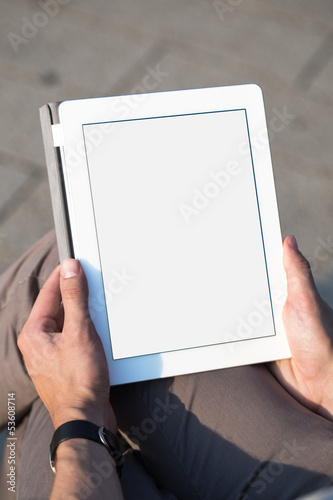 canvas print picture man hands holding tablet pc