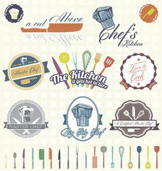 Vector Set: Retro Style Master Chef Labels and Icons