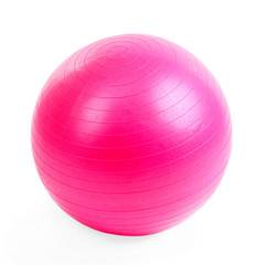 Pink ball for fitness isolated on white