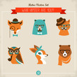 Cute fashion Hipster Animals