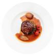 Tenderloin steak in plate, isolated on white