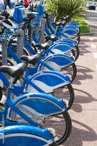 Public Bicycles on the sharing station in Nice, France