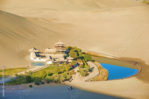 Crescent Spring and Mingyue Pavilion in the morning, Dunhuang
