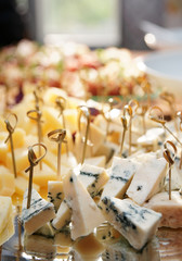 Selection of cheese on banquet table