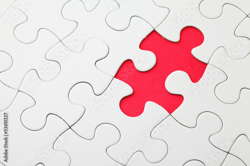 Missing puzzle piece in red