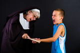 nun hitting a boy